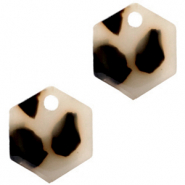 Anhänger aus Resin Hexagon Cream black