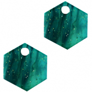 Anhänger aus Resin Hexagon Ocean green