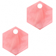 Anhänger aus Resin Hexagon Living coral pink