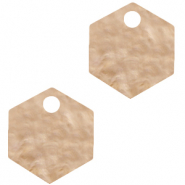 Anhänger aus Resin Hexagon Light semolina beige