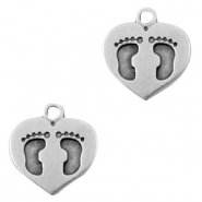 Anhänger Metall DQ Heart with Foot Print Antik silber (Nickelfrei)