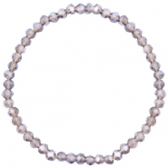Top Facetten Glas Armband 4x3mm Champagne grey crystal- pearl shine coating