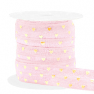 Band elastisch Herz Light pink-gold