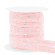 Band elastisch Herz Light pink-silver