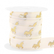 Band elastisch Unicorn Silk white-gold