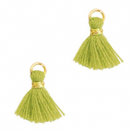 Quaste Perlen 1cm Gold-light olive green