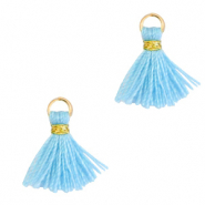Quaste Perlen 1cm Gold-light blue