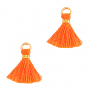 Quaste Perlen 1cm Gold-neon orange