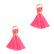 Quaste Perlen 1cm Gold-hot pink