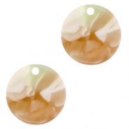 Anhänger Resin rund 12mm Mixed light green-brown