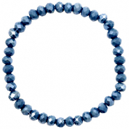 Facetten Glas Armband 6x4mm Peacoat blue-pearl shine coating