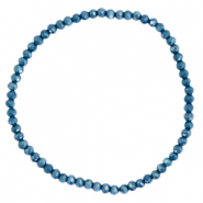 Facetten Glas Armband 3x2mm Peacoat blue-pearl shine coating
