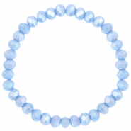 Facetten Glas Armband 6x4mm Lavender blue-pearl shine coating