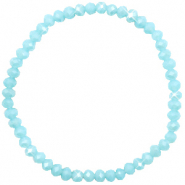Facetten Glas Armband 4x3mm Crystal blue-pearl shine coating