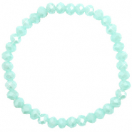 Facetten Glas Armband 6x4mm Clearwater blue-pearl shine coating