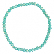 Facetten Glas Armband 4x3mm Light teal green-pearl shine coating