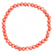Facetten Glas Armband 6x4mm Fiery red-pearl shine coating