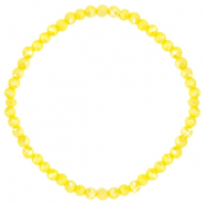Facetten Glas Armband 4x3mm Blazing yellow-pearl shine coating
