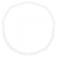Facetten Glas Armband 3x2mm White-pearl shine coating