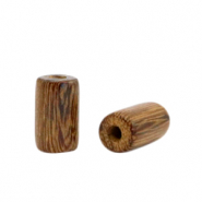 Holz Perlen 10mm Tube Tobacco brown