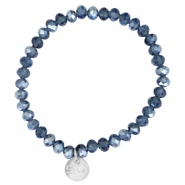 Facetten Glas Armband Sisa 6x4mm (RVS Anhänger) Montana blue-pearl diamond coating