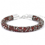 Armband Crystal diamond 8mm Siam red-anthracite