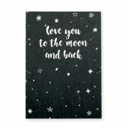 "Wunschkarte für Schmuck ""LOVE YOU TO THE MOON AND BACK"" Schwarz-weiss"
