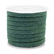 Trendy Kordel Denim 5mm flach Dark emerald green