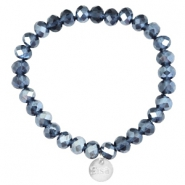 Facetten Glas Armband Sisa 8x6mm (RVS Anhänger) Montana blue-pearl diamond coating