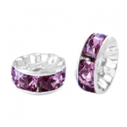 Perlen Strass Rondellen 10mm Silver-light aubergine purple