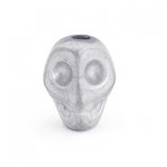 Perlen hematite Skull Light grey matt