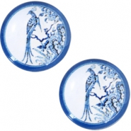 Cabochons Basic Delfts blau Pfau 12mm White-blue