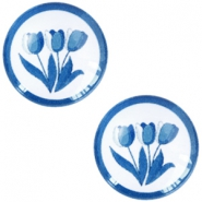 Cabochons Basic Delfts blau Tulpen 12mm White-blue