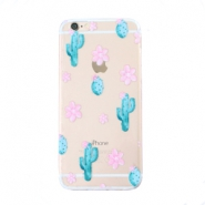 Telefonhüllen für iPhone 7 Cactus & Flowers Transparent-blue pink