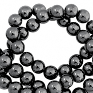Perlen hematite rund 4mm Anthracite grey