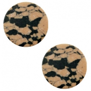Cabochons Basic flach Stone Look 20mm Sand brown-black