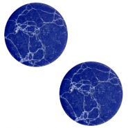 Cabochons Basic flach Stone Look 20mm Blue-white