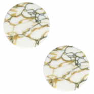 Cabochons Basic flach Stone Look 20mm White-brown black