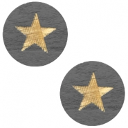 Cabochon Holz Star 12mm Dark grey