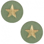 Cabochon Holz Star 12mm Dark green