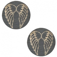 Cabochon Holz Angel Wings 12mm Dark grey