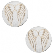 Cabochon Holz Angel Wings 12mm Silver