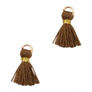Quaste Perlen Ibiza Style 1cm Gold-chocolate brown