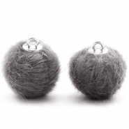 Pompom Anhänger 16mm fur faux Dark grey