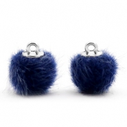Pompom Anhänger 12mm fur faux Dark blue