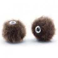 Pompom Perlen 12mm fur faux Classsic brown
