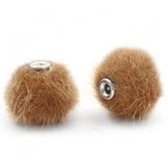 Pompom Perlen 12mm fur faux Vintage golden brown