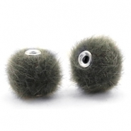 Pompom Perlen 12mm fur faux Sage green