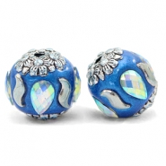 Perlen Bohemian 16mm Olympic blue-silver crystal