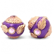 Perlen Bohemian 14mm Purple-rosegold
